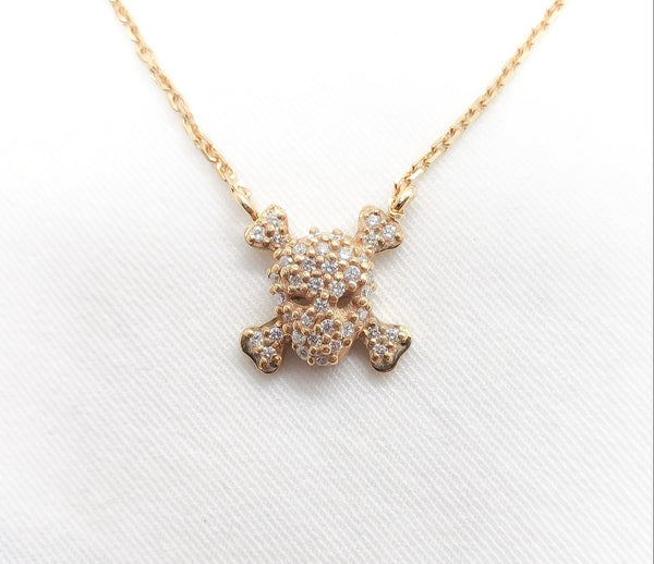 14kt Rose Gold Cable Chain with Diamond Skull/Bone Pendant