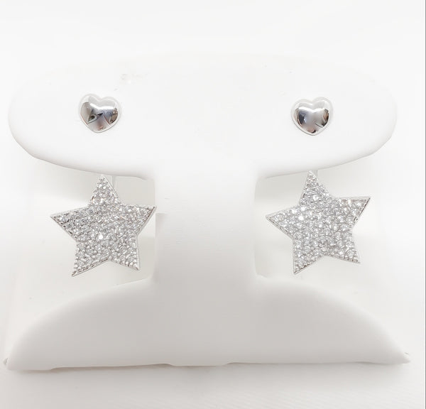 18kt. Cubic Zirconia Micro-Pave Star Earrings