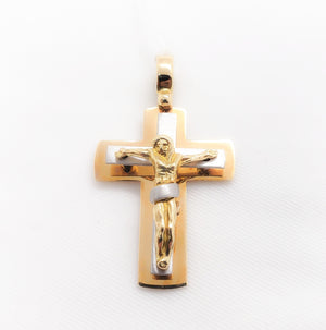 18kt. Two Tone 3D Crucifix