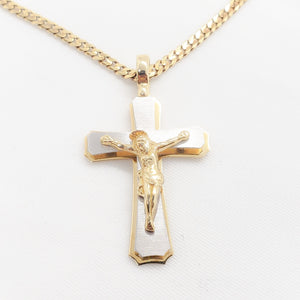 10kt. Two Tone Large Crucifix