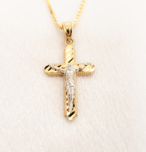 10kt. Two Tone Diamond Cut Crucifix