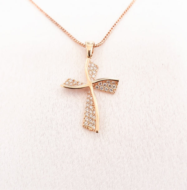 18kt. Cubic Zirconia Pave Set Rose Gold Cross