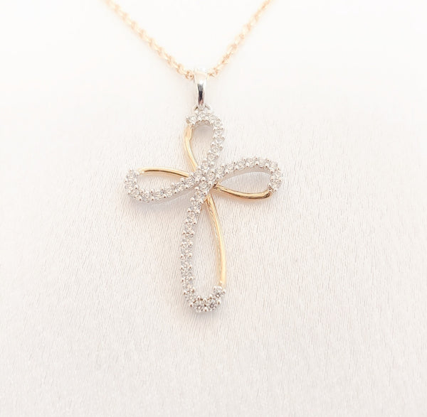 18kt. Two Tone Cubic Zirconia Prong Set Cross