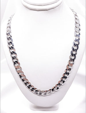 Men's 5 mm Silver Curved Link Chain 22 Inches