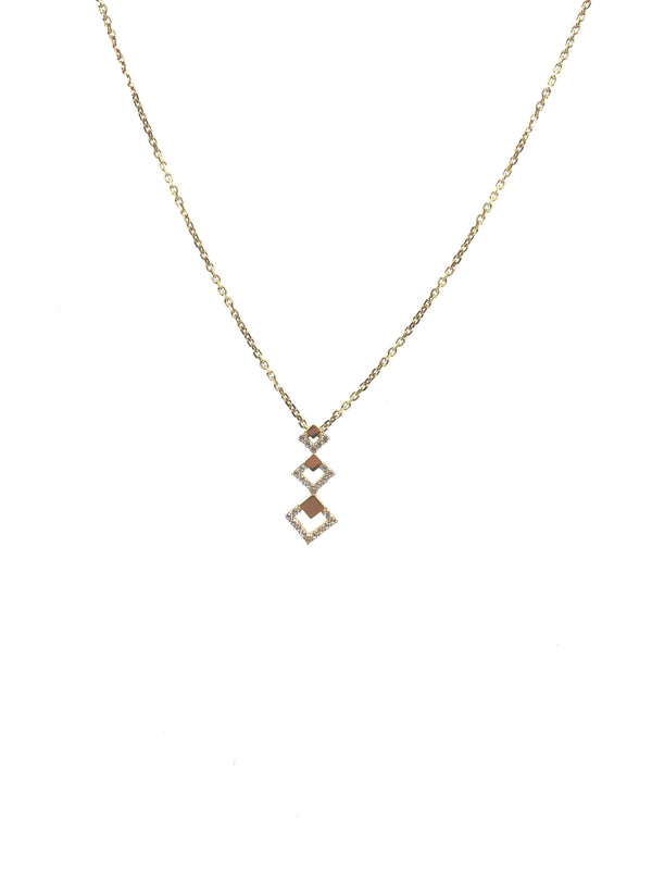 14kt Cubic Zirconia Geometric Tiered Chain Slide Pendant & Chain Necklace