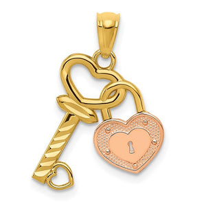 14kt Two-tone gold Heart Lock and Key Pendant