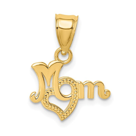 14kt yellow gold MOM with Heart Charm