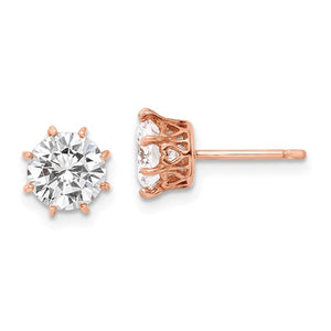 Sterling Silver Rose Gold Plated Cubic Zirconia 8 Prong Stud Earrings