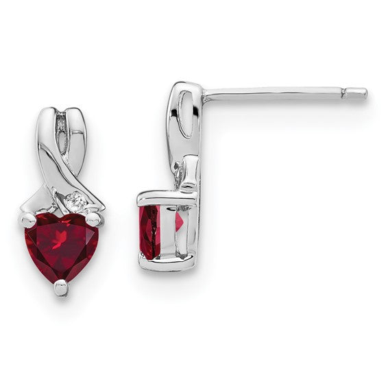 Sterling Silver Created Ruby & Diamond Post Earrings