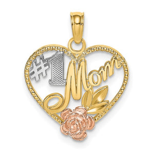 14kt Two-tone Textured #1 Mom Heart Charm