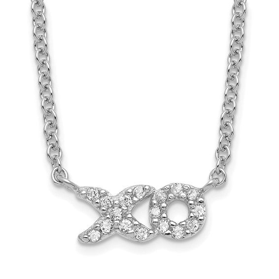 Sterling Silver CZ XO Word Necklace