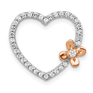 14kt White Gold with Rose Gold Flower Diamond Heart Pendant