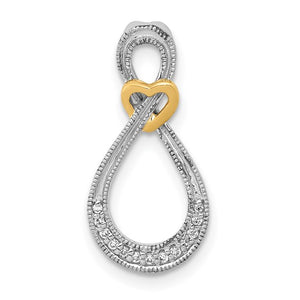 14kt Two-tone 1/20ct. Diamond Infinity with Heart Chain Slide