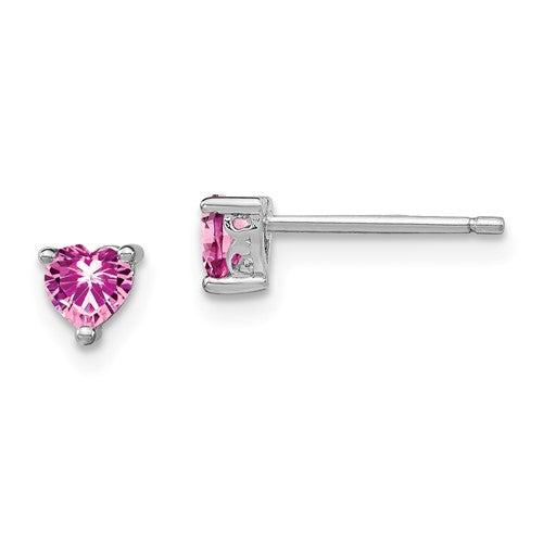 Sterling Silver Created Pink Sapphire Hear Post Earrings