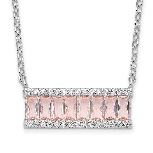 Sterling Silver Emerald-cut Pink Nano Crystal and Cubic Zirconia Bar Necklace