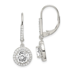 Sterling Silver Polished Leverback Cubic Zirconia Earrings
