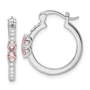 Sterling Silver & Pink/Clear Cubic Zirconia Hoop Earrings