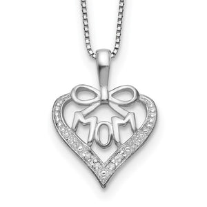 Sterling Silver & Diamond Mom Necklace