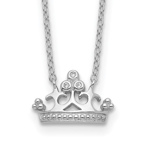 Sterling Silver & Cubic Zirconia Crown Necklace