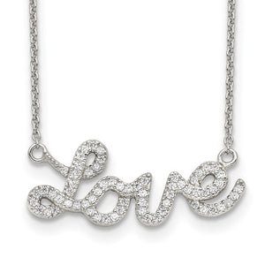 Sterling Silver & Cubic Zirconia LOVE Necklace
