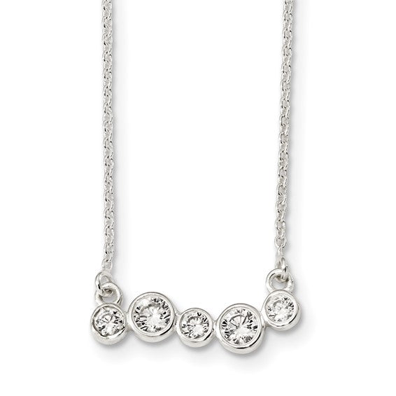 Sterling Silver Polished 5 Bezel Cubic Zirconia Bar Necklace