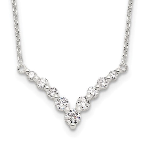 Sterling Silver Fancy Cubic Zirconia V Bar Necklace