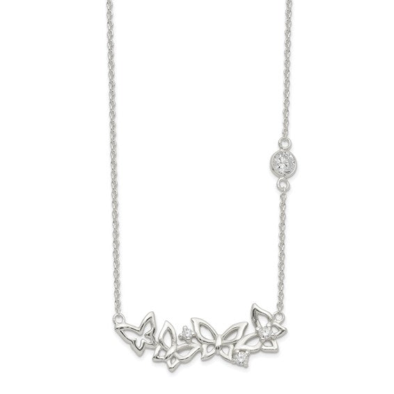 Sterling Silver and Cubic Zirconia Butterflies Necklace
