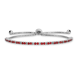 Sterling Silver Red Cubic Zirconia Adjustable Bracelet