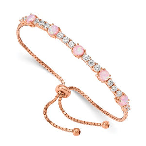 Sterling Silver Rose-tone Created Opal & Cubic Zirconia Adjustable Bracelet