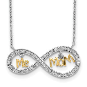 Sterling Silver Gold-plated MOM and ME Cubic Zirconia Infinity Necklace