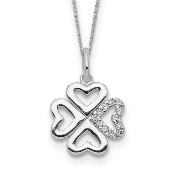 Sterling Silver & Cubic Zirconia Four Leaf Clover Necklace