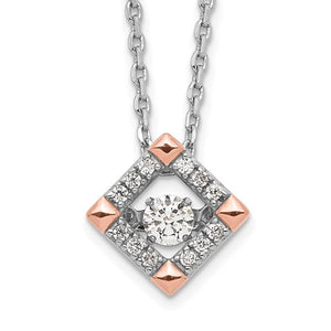 Sterling Silver and Rose-tone Moving Cubic Zirconia Necklace