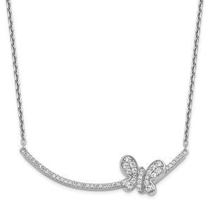 Sterling Silver Cubic Zirconia Bar & Butterfly Necklace