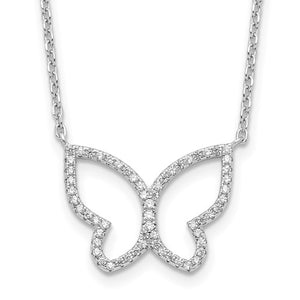 Sterling Silver & Cubic Zirconia Open Butterfly Necklace