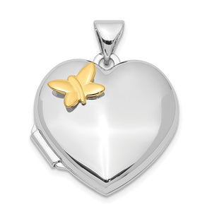 Sterling Silver Heart with Gold-plating Butterfly Locket