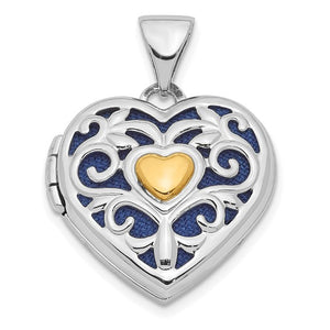 Sterling Silver Gold-tone Cut Out Heart Locket