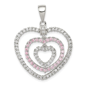 Sterling Silver Polished Pink/White Cubic Zirconia Hearts Pendant