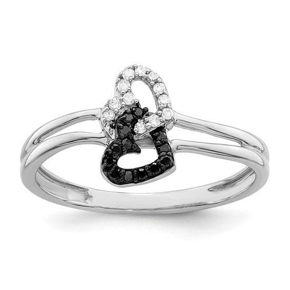Sterling Silver Black & White Diamond Interlocked Hearts Ring