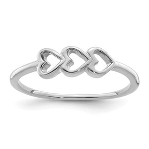 Sterling Silver 3 Hearts Ring