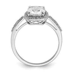 Sterling Silver Cushion Cubic Zirconia Ring