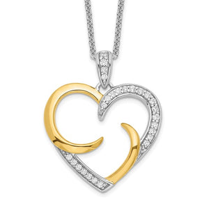 Sterling Silver Gold-plated 'The Arms of Love' Heart Necklace