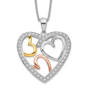 Sterling Silver Rose and Gold-plated Cubic Zirconia 'The Bond of Love' Heart Necklace