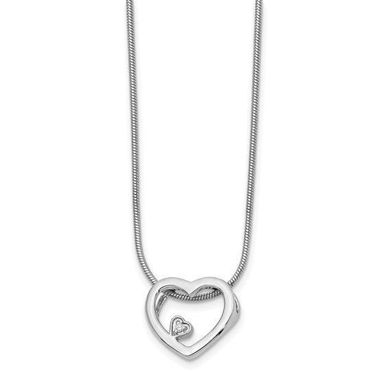 Sterling Silver & Diamond Heart Necklace