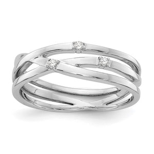 Sterling Silver and Diamonds Twisted Ring