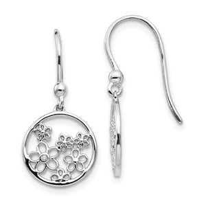 Sterling Silver & Diamond Flower Shepherd Hook Earrings