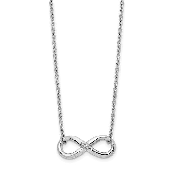 Sterling Silver and Diamonds Infinity Symbol Necklace