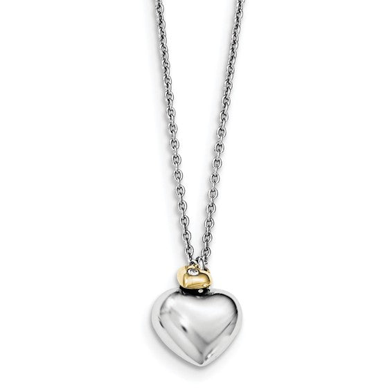Sterling Silver & Diamond Double Heart Necklace