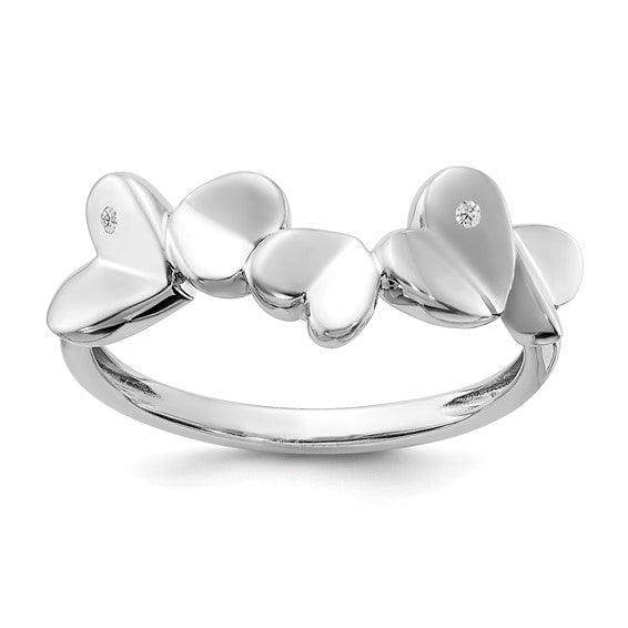 Sterling Silver & Diamond 5 Hearts Rings