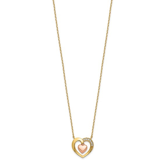 14kt Yellow & Rose Gold Cubic Zirconia Hearts Necklace