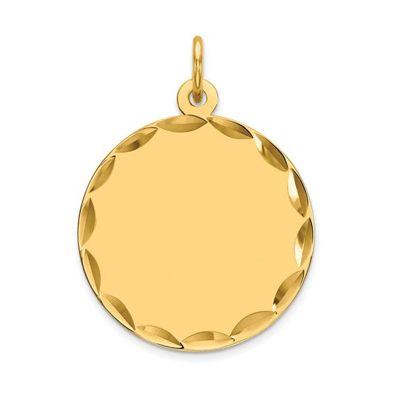14kt Yellow Gold Etched .018 Gauge Engravable Round Disc Charm